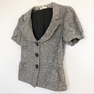 Vintage 90s Gray Button-down Top Sz Small